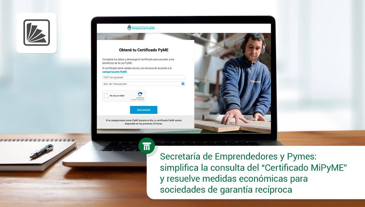 Editorial Errepar: La Sec. de #Emprendedores y #Pymes emite resoluciones sobre: simplificación de consulta de «Certificado #MiPYME» y medidas económicas para sociedades de garantía recíprocas, ambas de aplicación a partir del 11 de octubre de 2019. Toda la información -> https://t.co/ylRJZS63qo https://t.co/vy85gduAZ9