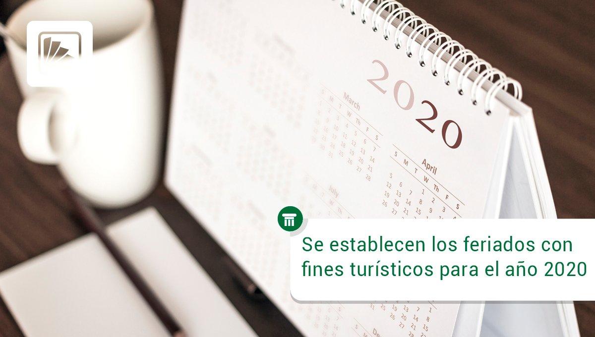 Destacados Contalix: Editorial Errepar: El Poder Ejecutivo establece como días #feriados con fines turísticos el 23 de marzo, 10 de julio y 7 de diciembre de 2020. Accedé al #Decreto 717/2019 -> https://t.co/LmuK3VYZU0 https://t.co/5UJ2LRYdvE https://t.co/iIEoodr4yk vía c… https://t.co/5ug9bZ9Kh7