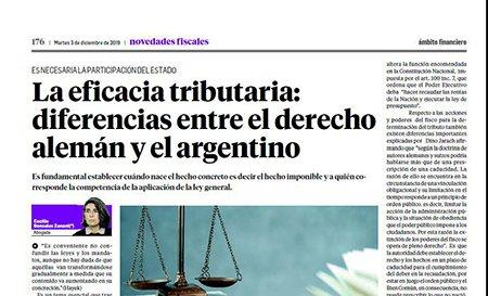 Novedades Fiscales @novedadesfisca1: La Dra. Cecilia  Gonzalez Zanoni plantea la comparación entre el derecho alemán y  el argentino respecto de la eficacia tributaria, también en el suplemento de hoy  #BuenMartes  #NovedadesFiscales #Derecho  #Tributario https://t.co/RtIKJzuSBs