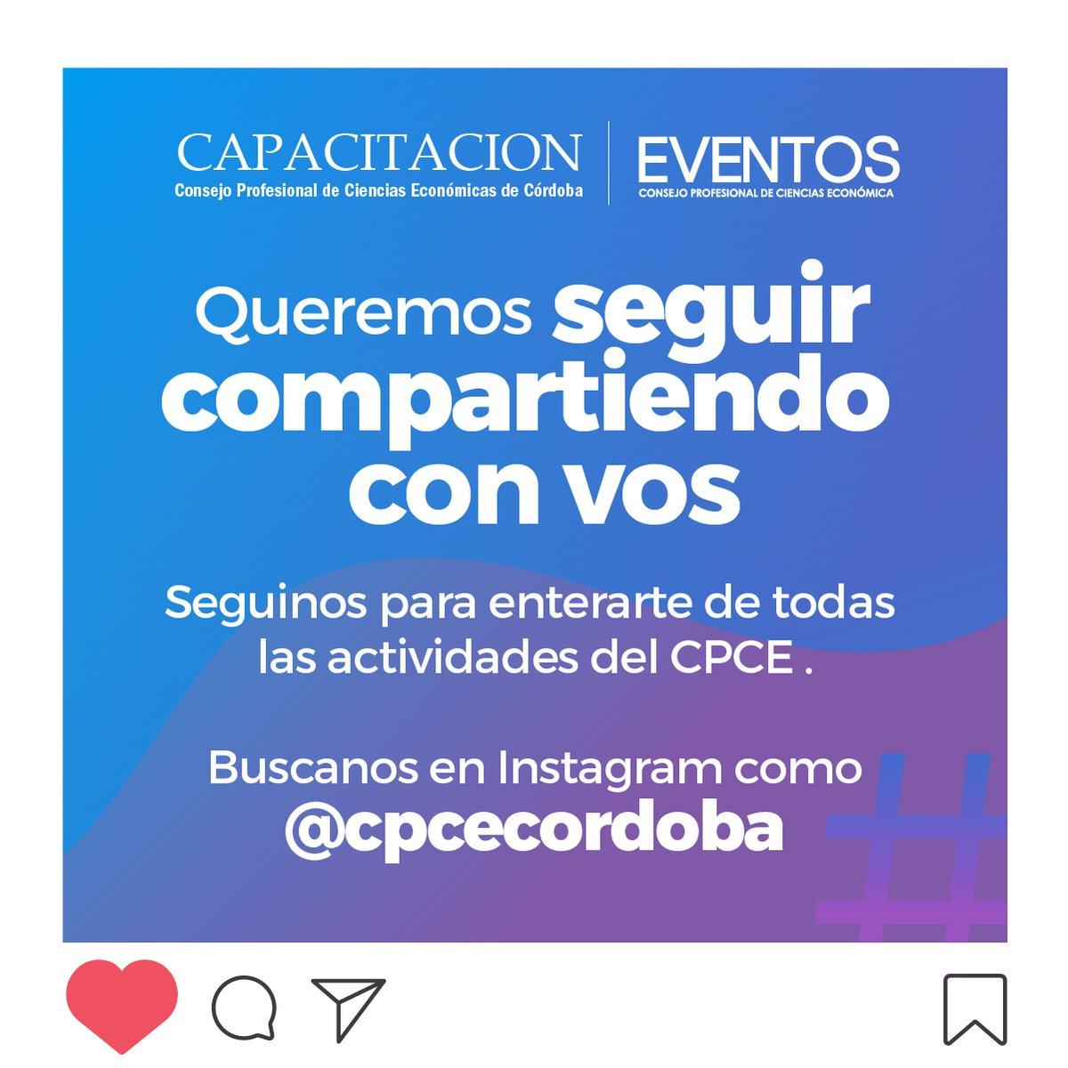 CPCE Córdoba @CPCECordoba: ¡Capacitaciones y Eventos del #CPCE tienen nuevo #instagram! Seguinos y enterate de todas las novedades ???? https://t.co/Ac1DRI3d7W https://t.co/9RXYlV16HQ