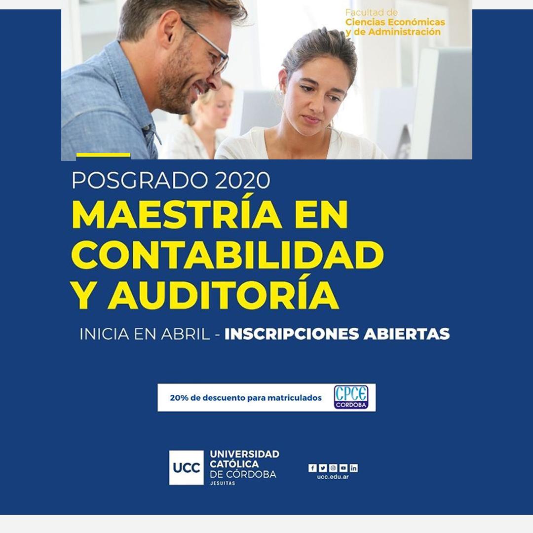 CPCE Córdoba @CPCECordoba: #Posgrado2020 ¡Seguí formándote! Todos los matriculados del CPCE tienen un 20% de descuento en la Maestría en Contabilidad y Auditoría de la @UCCoficial . Toda la info acá ???? https://t.co/PjCLNARX8O https://t.co/H0enUwbzq3