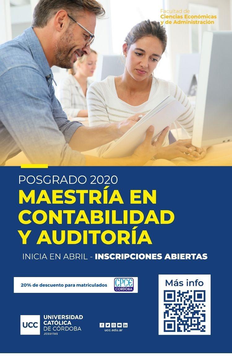 CPCE Córdoba @CPCECordoba: #Posgrado2020 ¡Seguí formándote! Todos los matriculados del #CPCE tienen un 20% de descuento en la #Maestría en Contabilidad y Auditoría de la @UCCoficial . Toda la info acá ???? https://t.co/PjCLNB9yxo https://t.co/gcgA5pEElR