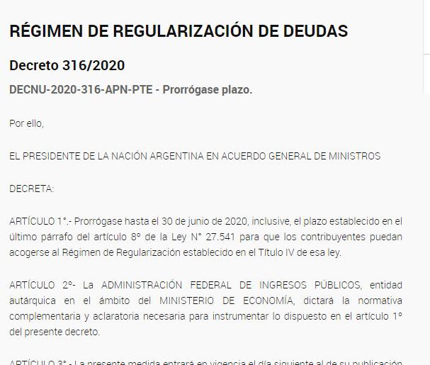 El Contador Online News @ElContadorNews: Mediante un decreto prorrogan al 30 de junio la adhesión a un Régimen Regularización de Deudas. Más Info >> https://t.co/DH8SnQF5Pu https://t.co/8wRwjcbVOC