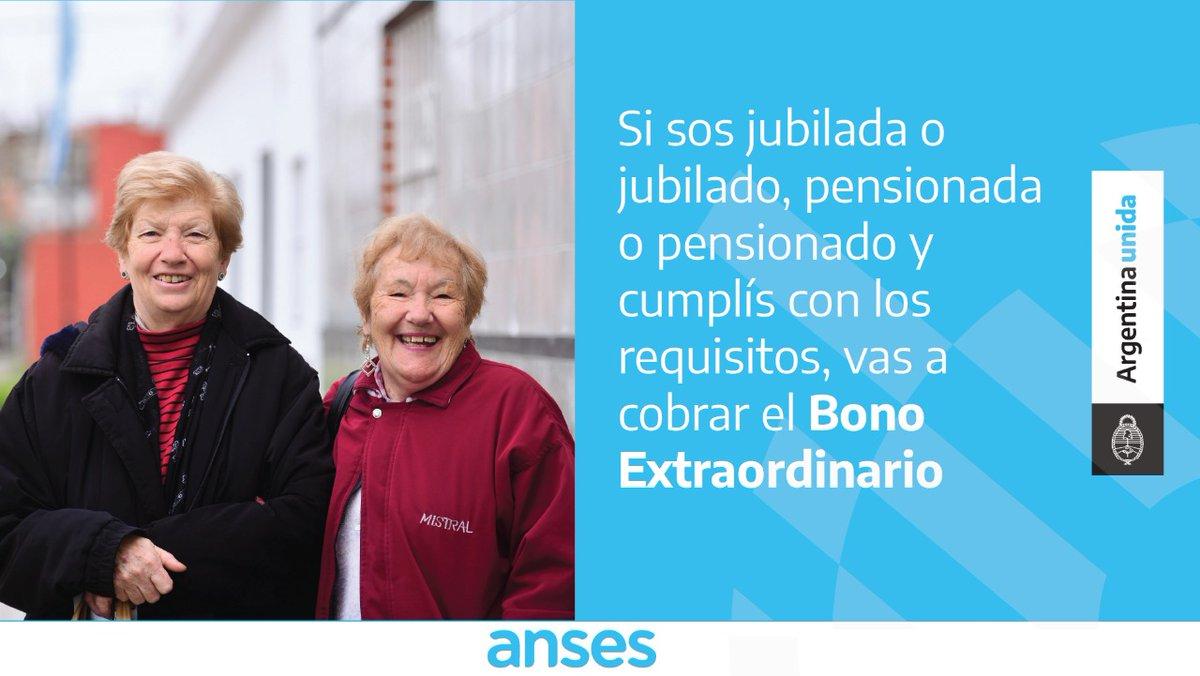 ANSES @ansesgob: El #BonoExtraordinario para jubiladas, jubilados, pensionadas y pensionados se pagará en abril junto con tus haberes. Más info ???????? https://t.co/Iw8eDiEVUj https://t.co/bzmaCwsZPN