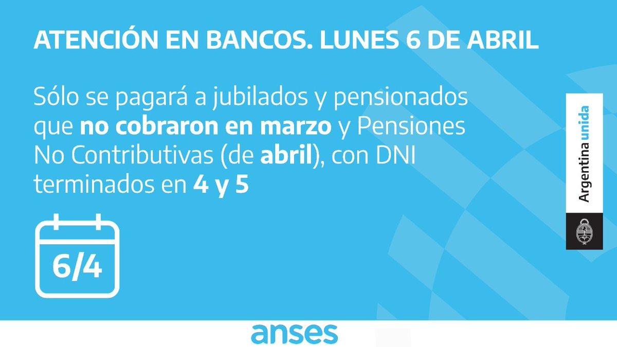 ANSES @ansesgob: Cronograma de pagos a jubilados y pensionados para el lunes 6 de abril.  Para más información ingresá a https://t.co/NSM7xFvi9y  #ArgentinaUnida #CuidarteEsCuidarnos https://t.co/pr8RTyZo1F