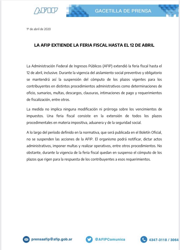 Blog del Contador @BlogDelContador: ???? AFIP extiende la feria fiscal (SIN PRÓRROGA DE VENCIMIENTOS) hasta el 12 de abril https://t.co/l0OaTFlnX0