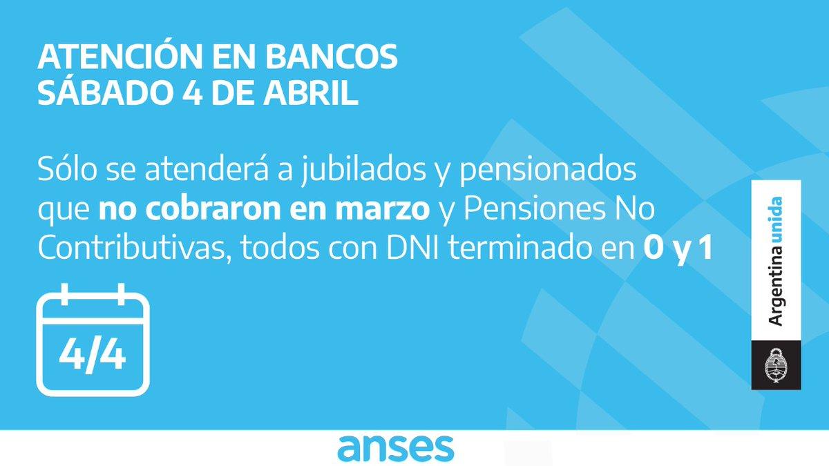 ANSES @ansesgob: Las entidades bancarias atenderán exclusivamente a beneficiarios que cumplan los requisitos de cobro, por documento y fecha https://t.co/XOWxsYj6fx