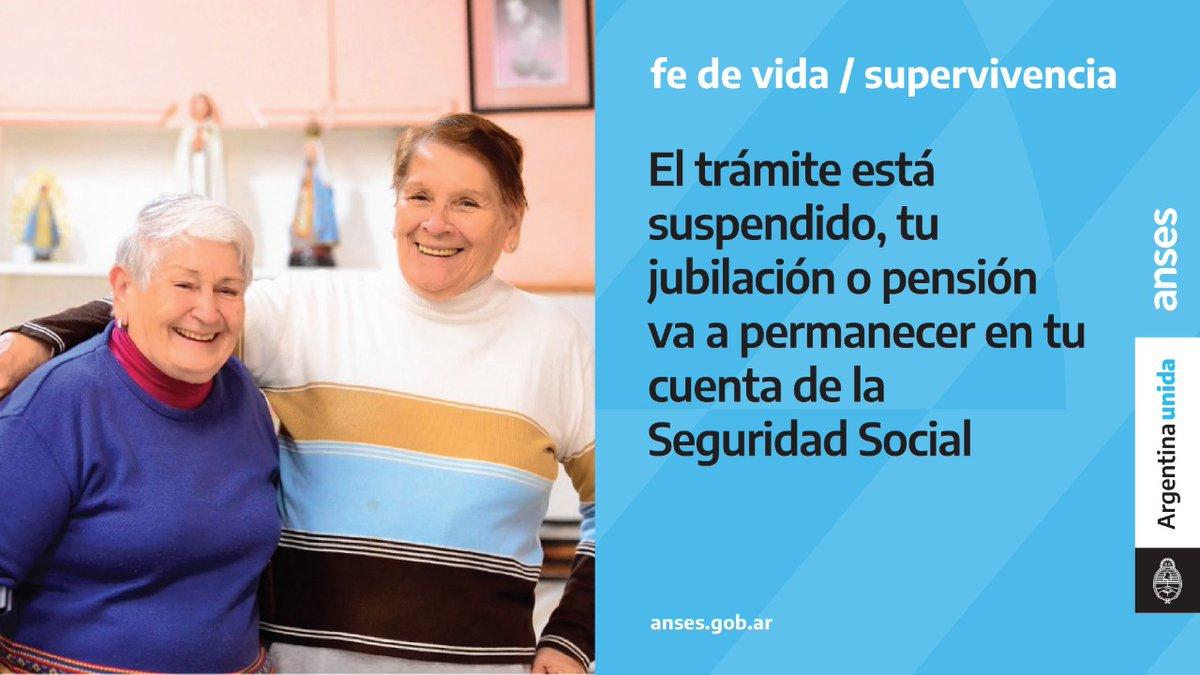ANSES @ansesgob: Ayúdanos a difundir ???? Prorrogamos el trámite de Fe de Vida / Supervivencia durante el mes de junio ???????? Tus haberes permanecerán depositados en tu cuenta de la Seguridad Social ???????????????? ⠀ #ArgentinaUnida #CuidarteEsCuidarnos https://t.co/YNrMbiJGoR