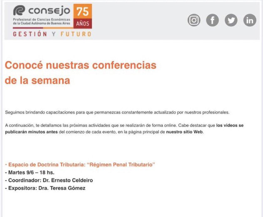 Teresa Gomez @te_gomez: Hola Colega, en el ciclo coordinado por el CP Ernesto Celdeiro, hoy 18hs nos vemos desde la página principal del CPCECABA. En 40 minutos, revisaremos el Régimen Penal Tributario. Te espero, si no podes hoy, luego nos vemos en el canal Youtube del Consejo https://t.co/QkPEQvKuBr
