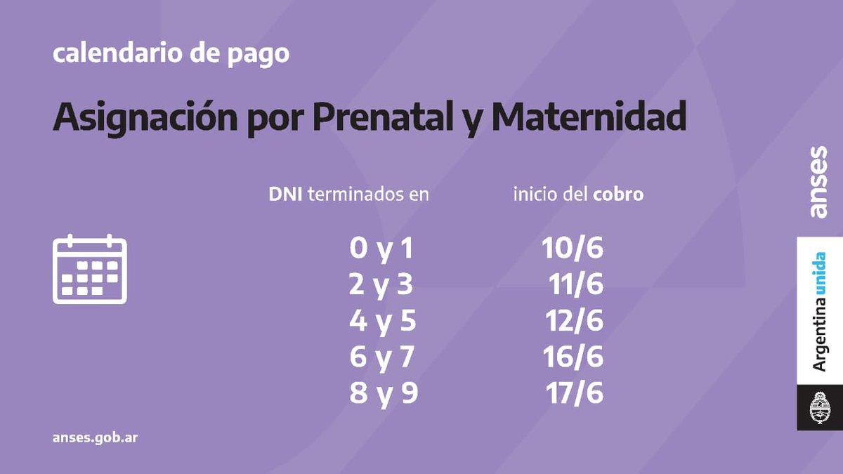 ANSES @ansesgob: ???? Calendario de Pago para Asignación por Prenatal y Asignación por Maternidad ???????? Si tenés la tarjeta de débito Tarjeta de crédito podés evitar ir al banco y retirar tu haber en efectivo desde los cajeros automáticos #CuidarteEsCuidarnos #ArgentinaUnida https://t.co/aqyYIAjPtS
