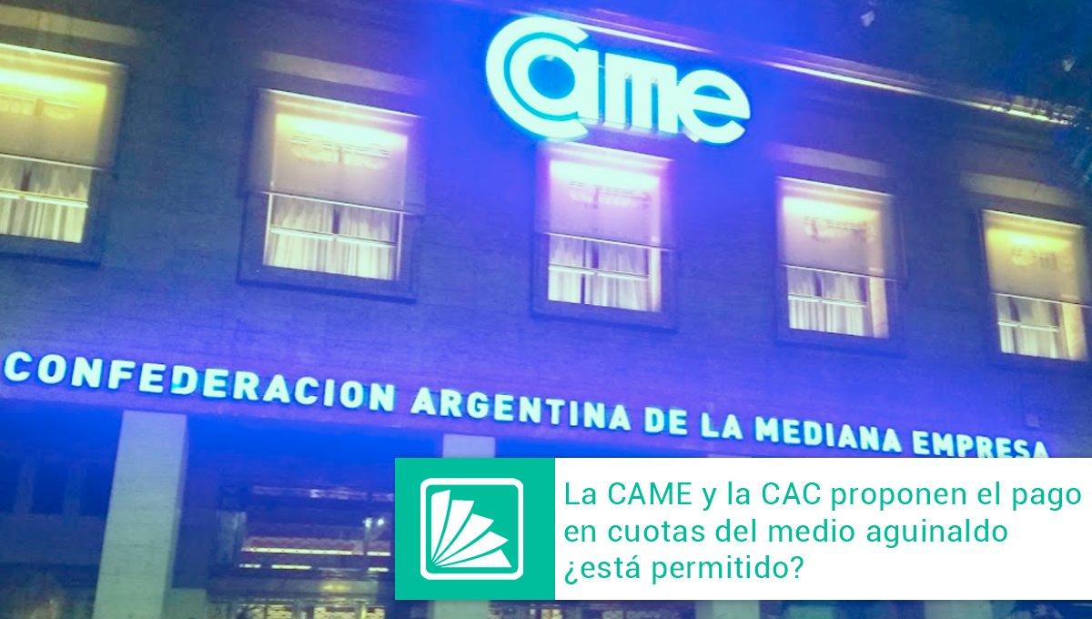 Editorial Errepar @errepar: La CAME propone el pago del SAC en cuotas como una situación de excepción y emergencia, beneficiando a las pymes para sostenerlas ante la crisis, y también a sus trabajadores que necesitan seguridad y previsibilidad de cobro. Accedé a la nota completa -> https://t.co/9OhyZK1H3R https://t.co/QqAWm0q3ov
