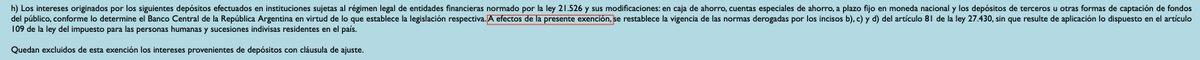 Sebastián M. Domínguez @sebasdominguez: @nvaleryr El Art. 33 L. 27.541 sustituye el inc h) Art.26 indicando «a los efectos de la presente exención, se restablece la vigencia…». Como la primer parte del párrafo se refiere a los «intereses originados en…», la postura del Fisco es que solo aplica a rendimientos ???????????? https://t.co/ikkKAmWWjr https://t.co/FYiQwN4i0S