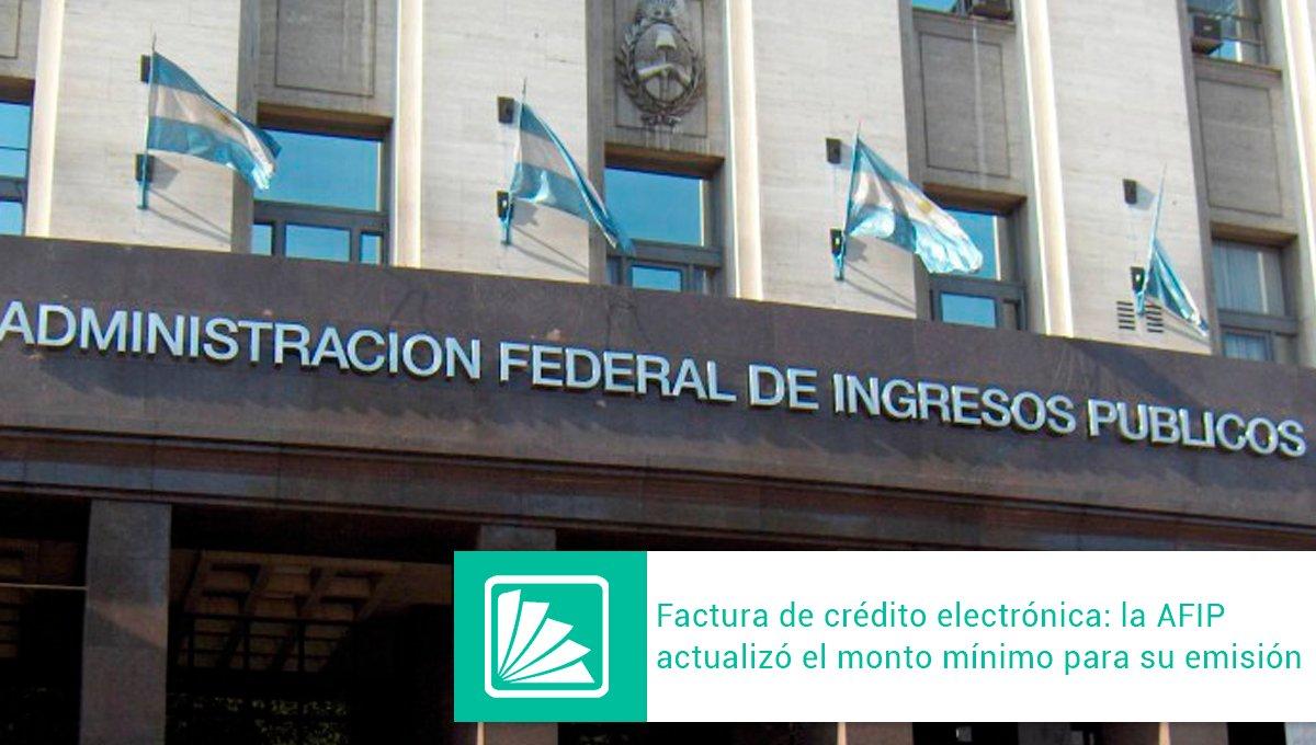 Editorial Errepar @errepar: La AFIP eleva a $146.885 el monto mínimo que obliga a las empresas a emitir Factura de Crédito Electrónica. El monto se aplica en los comprobantes que se emitan con fecha 3/7/2020 en adelante. Más información -> https://t.co/EzQ5nyI5e3 https://t.co/Wj9Uhq6mfZ