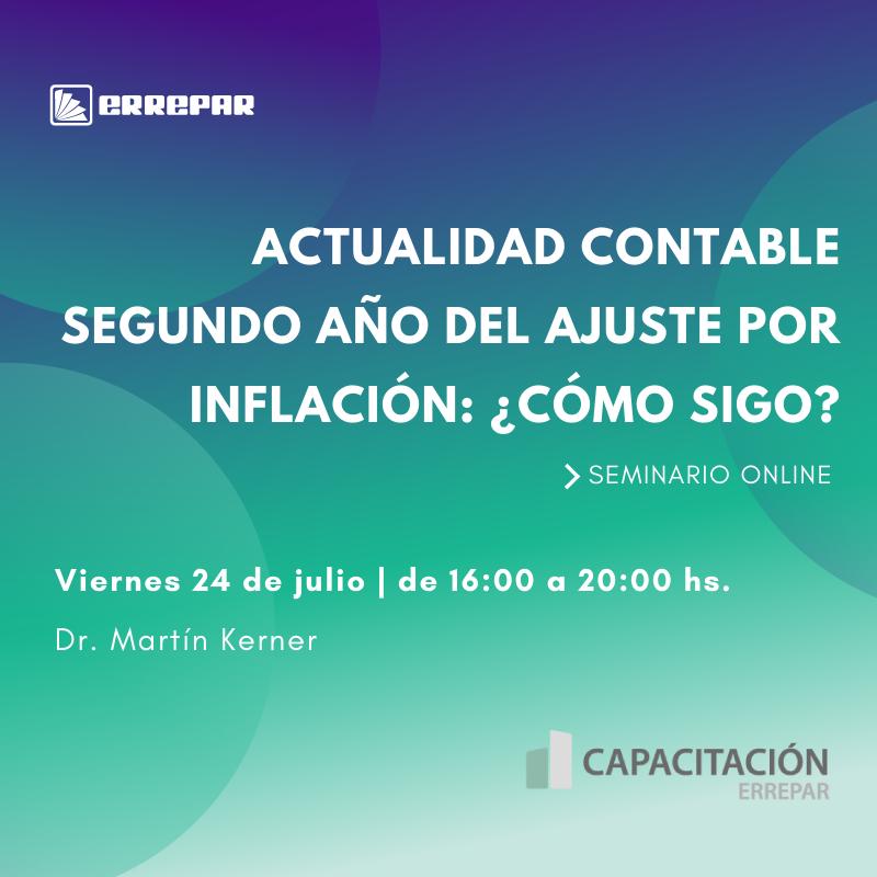Editorial Errepar @errepar: #CapacitacionesErrepar Relanzamiento Actualidad contable. Segundo año del ajuste por inflación: ¿cómo sigo? @Martinkerner2  Aranceles: -Suscriptores: $3630 -No suscriptores: $4840 Los valores incluyen IVA Inscripciones -> https://t.co/aGzVGF2uO9 division.capacitacion@errepar.com https://t.co/pySnGXFlBI
