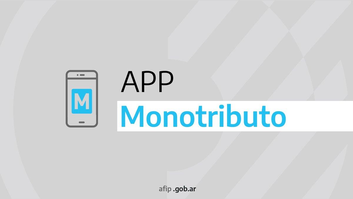 Afip Comunica @AFIPComunica: Desde la aplicación móvil de #Monotributo podés inscribirte, verificar el estado de tu cuenta y recategorizarte. Descargala en https://t.co/jjla5M4cCv https://t.co/XuaXE4rdV3