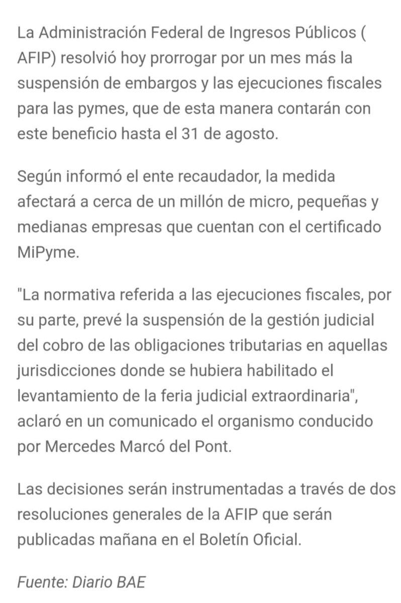 Marcelo D. Rodriguez @mrconsultores3: AFIP SUSPENSIÓN DE EMBARGOS Y EJECUCIONES FISCALES  Para las Pymes.  Hasta el 31/8/2020 https://t.co/KwGBTgdIUx