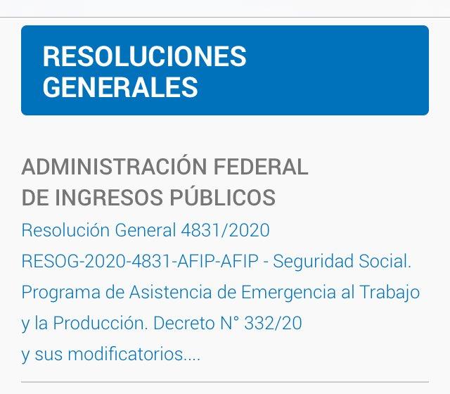 Carlos Roca @CarlosCroca: RG AFIP 4831 – Crédito a Tasa Subsidiada  Septiembre 2020 – Procedimiento y condiciones . https://t.co/aHhIKL2qgI