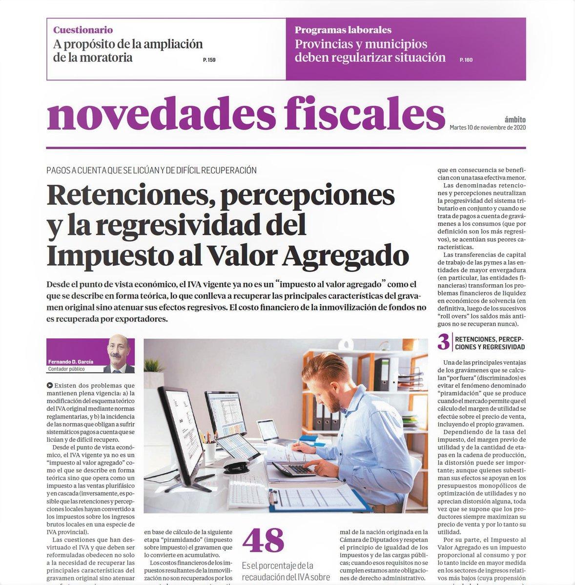 Novedades Fiscales @novedadesfisca1: Nota de tapa del suplemento de hoy a cargo del Dr. Fernando García. https://t.co/C2wua06Jn5