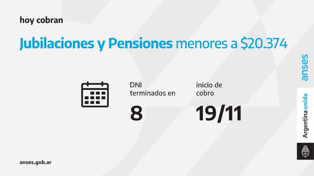 ANSES @ansesgob: Calendario de pago del 19 de noviembre: Jubilaciones y Pensiones (haberes que no superen los $ 20.374)  #Jubilaciones #Pensiones #ANSES #ArgentinaUnida https://t.co/7hjDw7k61T