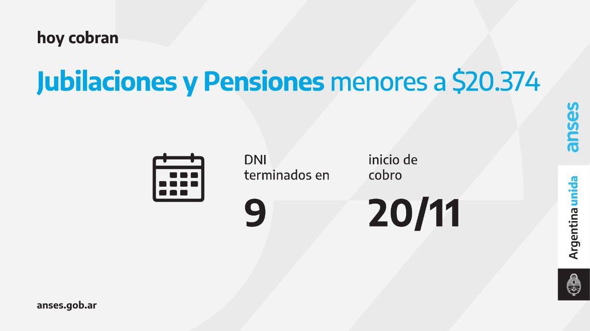 ANSES @ansesgob: Calendario de pago del 20 de noviembre: Jubilaciones y Pensiones (haberes que no superen los $ 20.374)  #Jubilaciones #Pensiones #ANSES #ArgentinaUnida https://t.co/h3QaQ9yySL