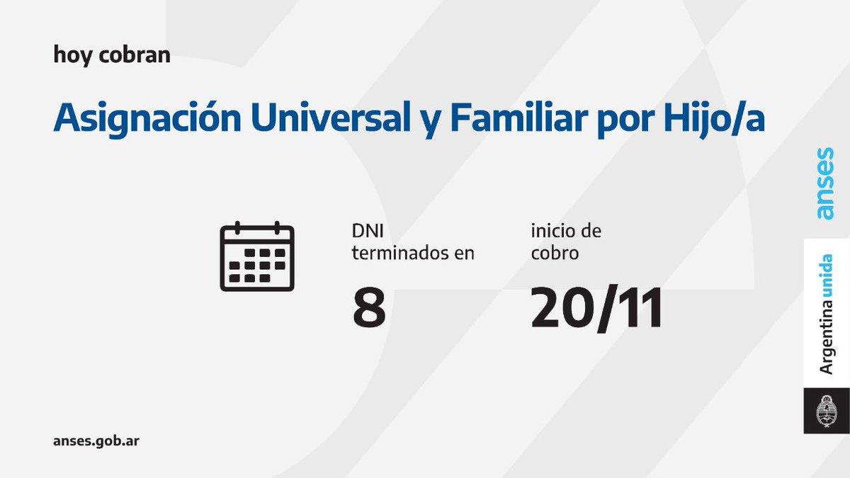 ANSES @ansesgob: Calendario de pago del 20 de noviembre: Asignación Universal por Hijo y Asignación Familiar por Hijo  #AUH #AsignaciónFamiliarPorHijo #ANSES #ArgentinaUnida https://t.co/NNQVTpWZFG