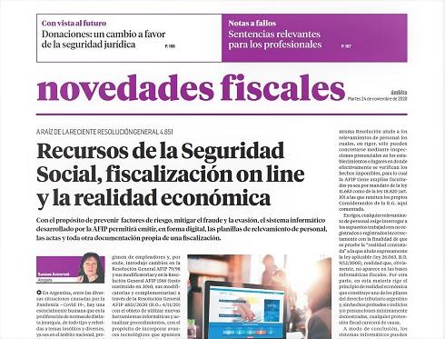 Novedades Fiscales @novedadesfisca1: En el suplemento de hoy la Dra. Susana Accorinti aborda en forma exhaustiva  el tema de la fiscalización on line en Seguridad Social dispuesto por la R.G. 4.851 (AFIP) https://t.co/xV3ecWmych