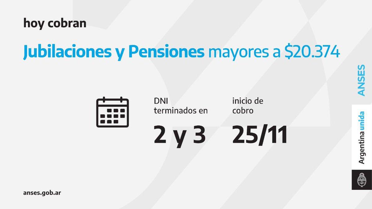 ANSES @ansesgob: Calendario de pago del 25 de noviembre: Jubilaciones y Pensiones (haberes que superen los $ 20.374)  #Jubilaciones #Pensiones #ANSES #ArgentinaUnida https://t.co/fwwOvaY3zA