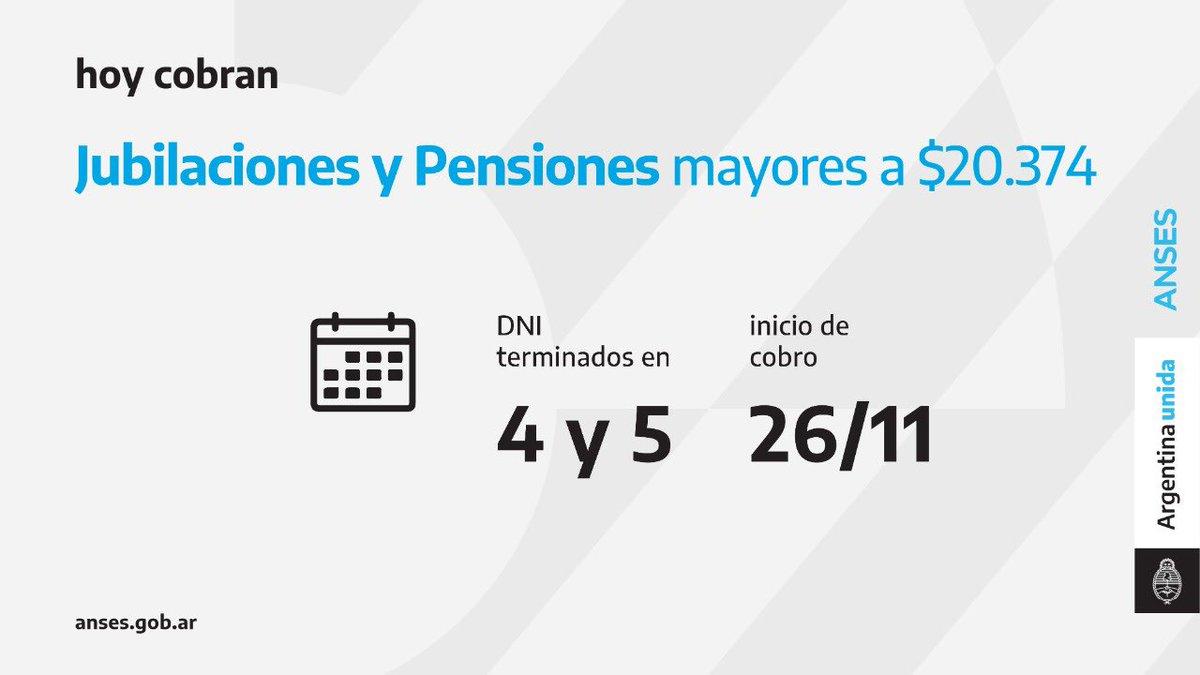 ANSES @ansesgob: Calendario de pago del 26 de noviembre: Jubilaciones y Pensiones (haberes que superen los $ 20.374)  #Jubilaciones #Pensiones #ANSES #ArgentinaUnida https://t.co/FZje8WTuZy