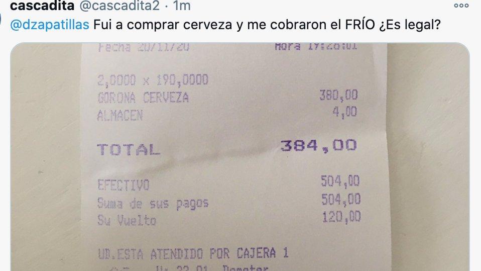 Derecho en Zapatillas @dzapatillas: Una ley prohíbe cobrar el frío, lo cual me parece llamativo porque es como un subsidio que paga el resto, pero bueno… Igual bien que lo facturaron! cc @cascadita2 :) beso https://t.co/9lI89Nn1tR