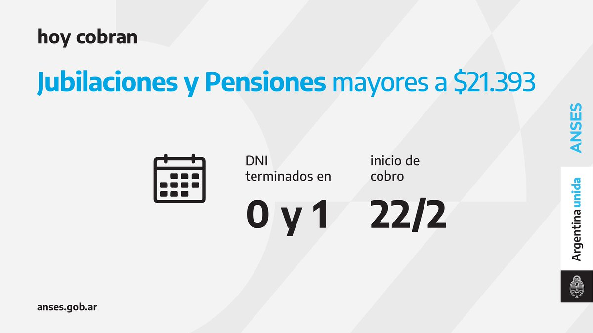 ANSES @ansesgob: Calendario de pago del 22 de febrero: Jubilaciones y Pensiones (haberes que superen los $21.393).  #Jubilaciones #Pensiones #ANSES #ArgentinaUnida https://t.co/Pc0lflHtQS