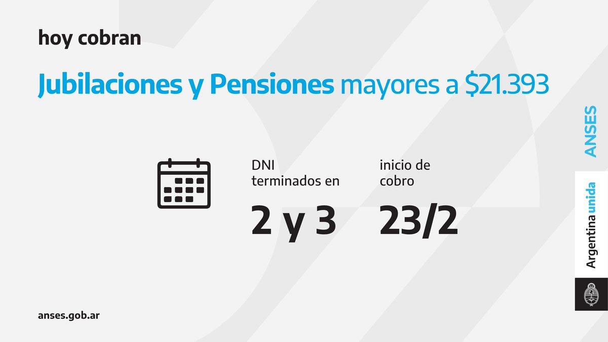 ANSES @ansesgob: Calendario de pago del 23 de febrero: Jubilaciones y Pensiones (haberes que superen los $21.393).  #Jubilaciones #Pensiones #ANSES #ArgentinaUnida https://t.co/RInN9Zlpmf