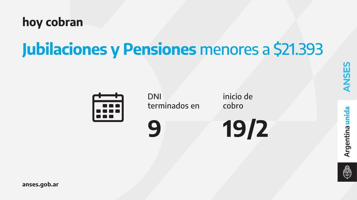 ANSES @ansesgob: Calendario de pago del 19 de febrero: Jubilaciones y Pensiones (haberes que no superen los $21.393).  #Jubilaciones #Pensiones #ANSES #ArgentinaUnida https://t.co/AOB44JUBlf