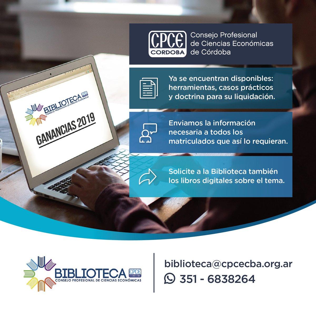 CPCE Córdoba @CPCECordoba: Contáctate por mail con nuestra Biblioteca a biblioteca@cpcecba.org.ar ???? o por teléfono 4688300 opción 9 ????  Podés efectuar consultas y solicitar búsquedas especializadas sobre una temática particular del ámbito impositivo, laboral, contable, societario, económico, etc. https://t.co/bp3ig2zVTo
