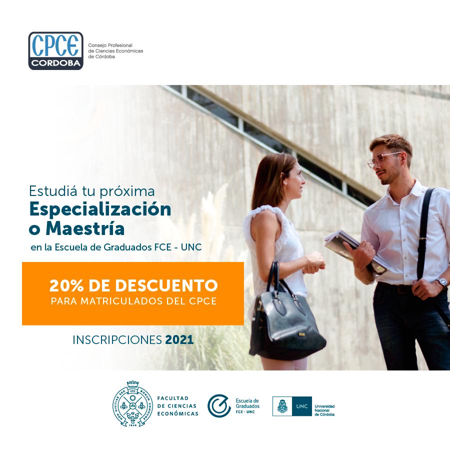 CPCE Córdoba @CPCECordoba: #BeneficiosParaMatriculados. #MBA. Si estás matriculado en el Consejo recibís un 20% de descuento en las cuotas de las Maestrías y especializaciones en la Escuela de Graduados de la Facultad de Ciencias Económicas UNC #Inscripciones2021 https://t.co/Vf4prc7pCW