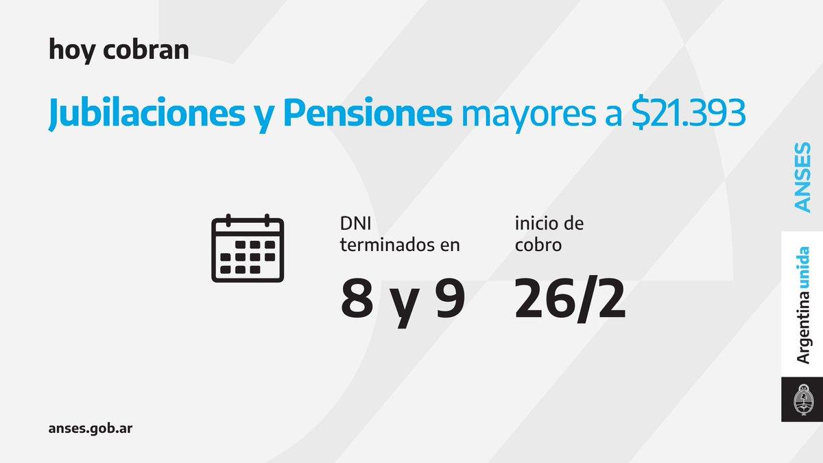 ANSES @ansesgob: Calendario de pago del 26 de febrero: Jubilaciones y Pensiones (haberes que superen los $21.393).  #Jubilaciones #Pensiones #ANSES #ArgentinaUnida https://t.co/rYmydt8MkQ
