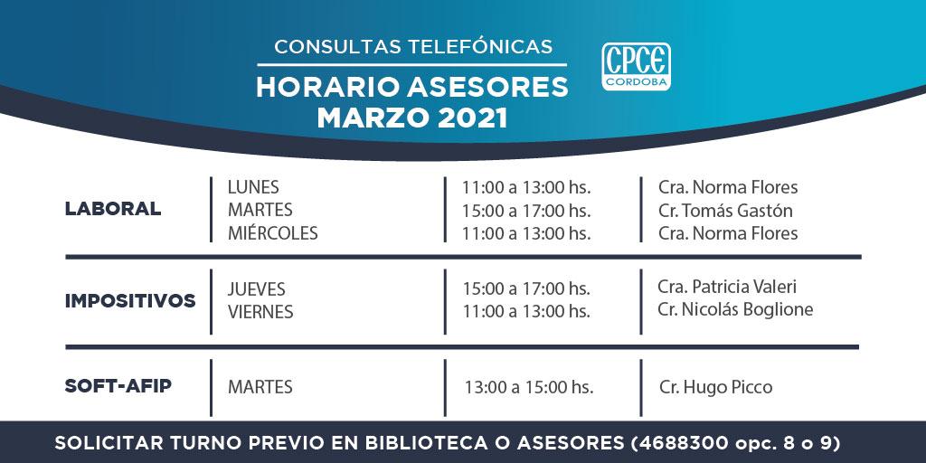 CPCE Córdoba @CPCECordoba: Mirá el listado completo de nuestros asesores y contáctate al 4688300 opción 8 o 9 para solicitar turno. También podes enviar un mail a asesores@cpcecba.org.ar↩️  ¡Estamos para ayudarte!✅ https://t.co/mi7m6W7pR4
