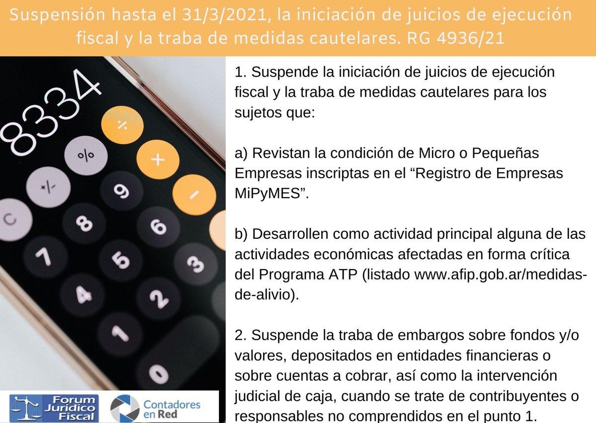 Contadores En Red @Contadoresenred: ???? Suspensión juicios de ejecución fiscal y traba de medidas cautelares. RG 4936/21 ➡️ https://t.co/Ao4wA02sGX https://t.co/7D5O6XBMxw