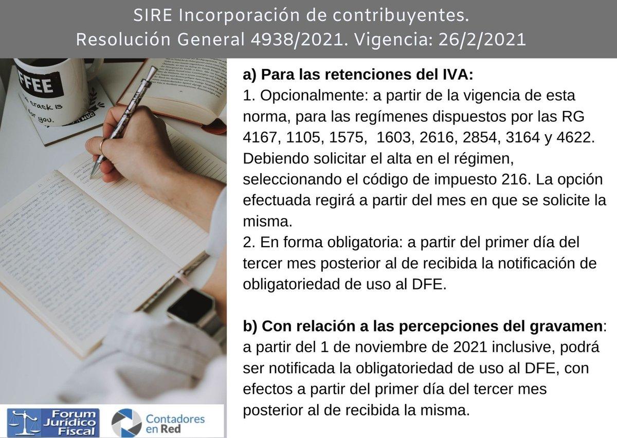 Contadores En Red @Contadoresenred: ????SIRE ¿A partir de que fecha se incorporan los regímenes de retención y/o percepción en IVA? RG 4938/21 ➡️ https://t.co/QRmkt1Btmk https://t.co/z4NTghny2n