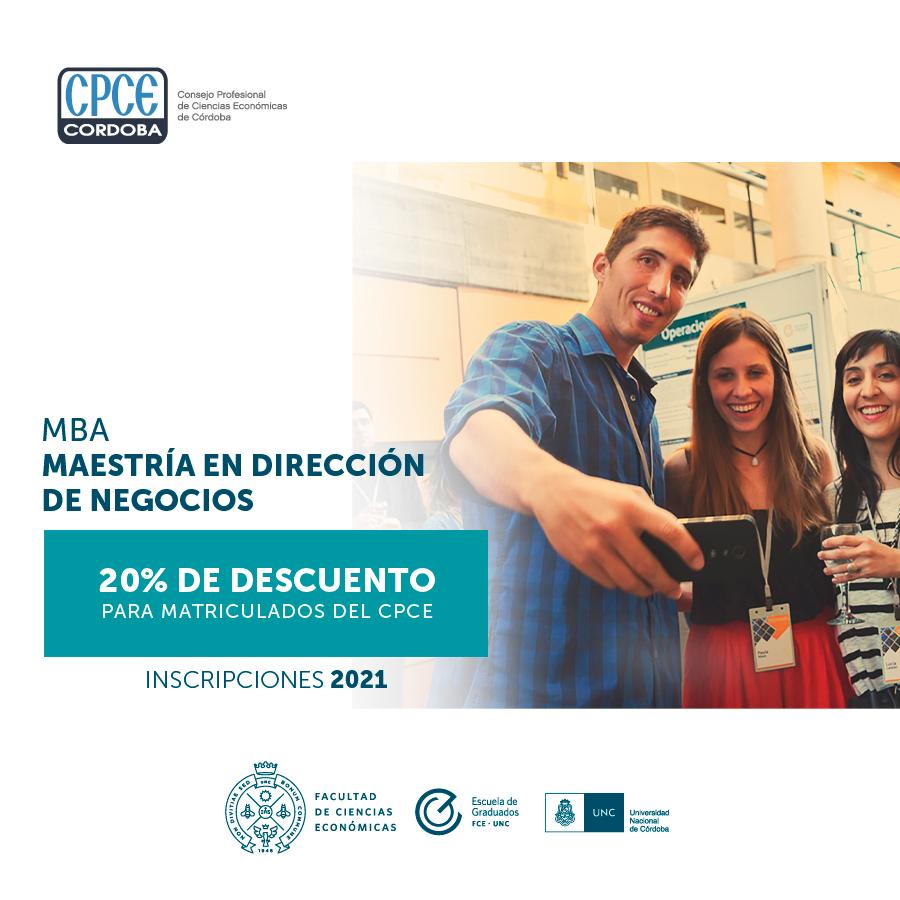 CPCE Córdoba @CPCECordoba: #BeneficiosParaMatriculados #MBA Si estás matriculado en el Consejo recibís un 20% de descuento en las cuotas de la Maestría en Dirección de Negocios de la Escuela de Graduados de la Facultad de Ciencias Económicas UNC.   Solicitá más información ▶️ https://t.co/CsaplsnQ6S https://t.co/2j67dDnZMC