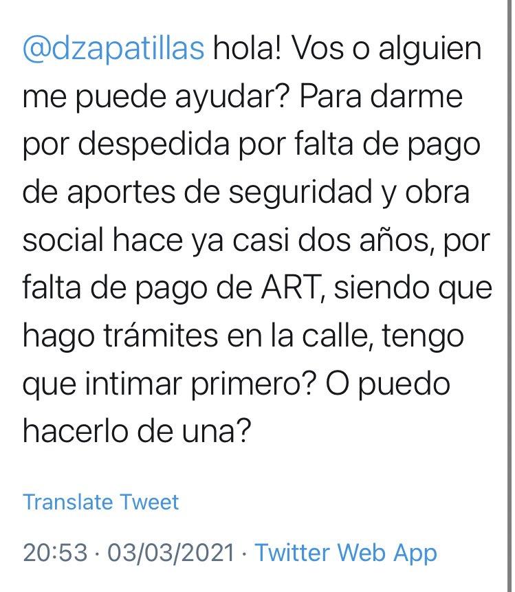 Derecho en Zapatillas @dzapatillas: Primero suele enviarse telegrama laboral, hay que ver colega abogado en entrevista, intimar integración de aportes https://t.co/TAYzKZG8bO