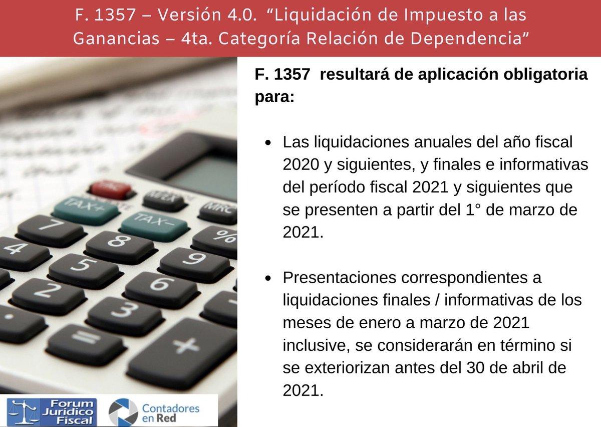 Contadores En Red @Contadoresenred: ???? F. 1357 – Versión 4.0. Liquidación de Impuesto a las Ganancias – 4ta. Categoría Relación de Dependencia ➡️ https://t.co/g6BiiOHhtX https://t.co/vjLJrlUQsU