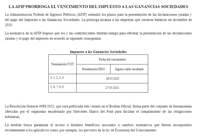 Tributum News @tributumcomar: #Ganancias #Sociedades #DDJ2020 Cierres Dic #Plazo #prorroga   ???? Presentación y pago: 26 y 27/05/2021 ????Res Gral 4988/2021 ???? BO: mña 14/05/2021 https://t.co/MIpBOeZUSW https://t.co/ey2d3eDs8j