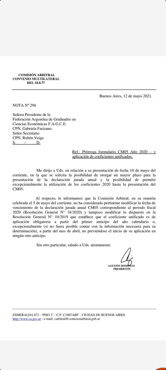 Marcelo D. Rodriguez @mrconsultores3: COMISIÓN ARBITRAL  No se posterga el plazo para presentar el CM05. https://t.co/Oss6ZqrWZc