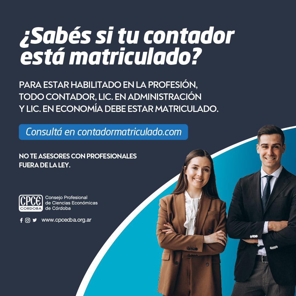 CPCE Córdoba @CPCECordoba: No te asesores con profesionales fuera de la Ley ▶ consultá si tu Contador, Lic. en Administración o Lic. en Economía está matriculado en https://t.co/tKMfQHUOeu https://t.co/zrKIVJ11b0