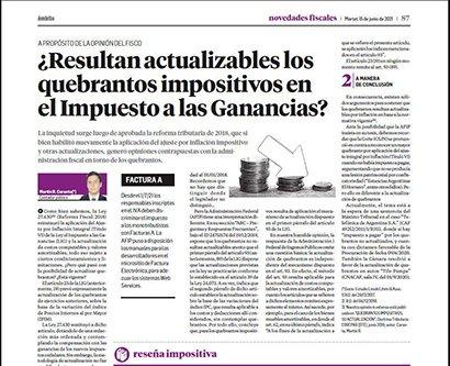 Novedades Fiscales @novedadesfisca1: También hoy en Novedades Fiscales,  el Dr. Martín Caranta aborda el tema de los  quebrantos impositivos en Ganancias y la  posibilidad de actualización https://t.co/mbk1DxZcor