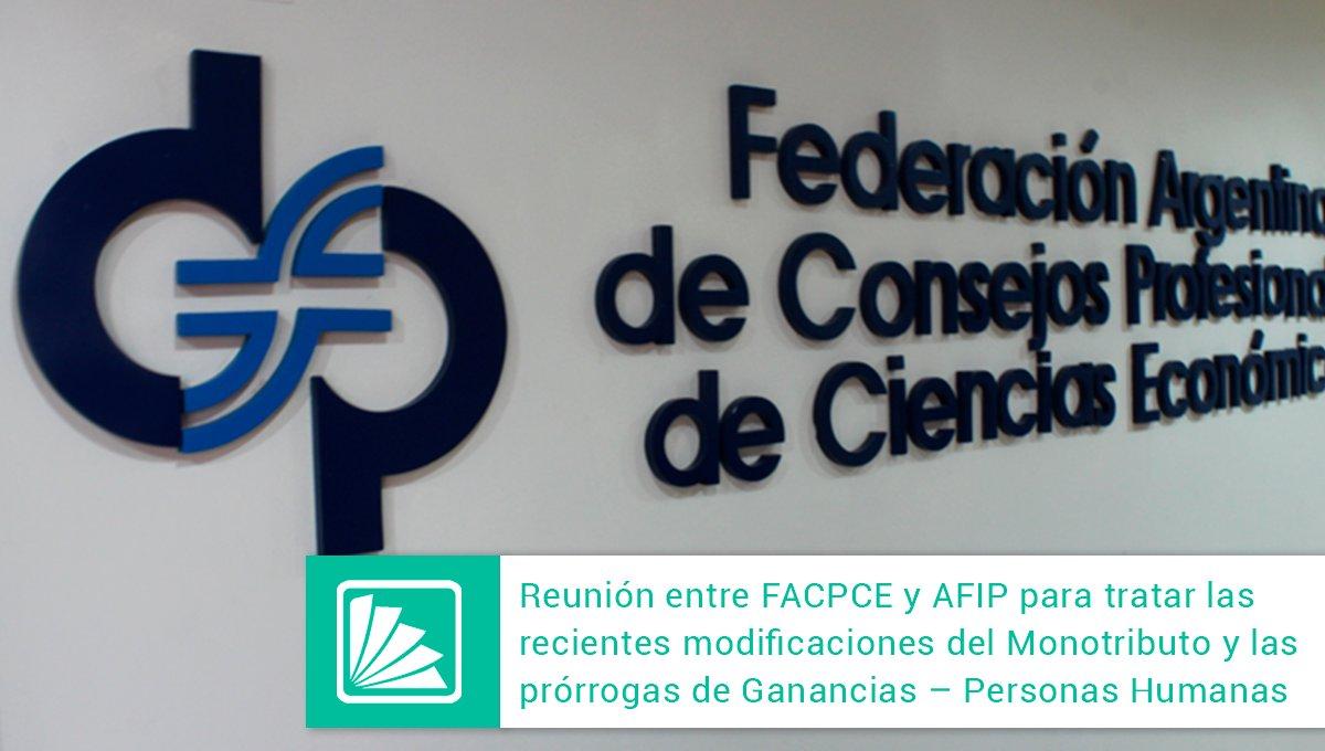 Editorial Errepar @errepar: Recientemente la FACPCE fue convocada por la AFIP para tratar las últimas modificaciones efectuadas al Monotributo y las prórrogas aplicables al Impuesto a las Ganancias Personas Humanas respecto del período fiscal 2020. Todos los detalles acá: https://t.co/t1DmIeW9oq https://t.co/5HhDMTUhAC