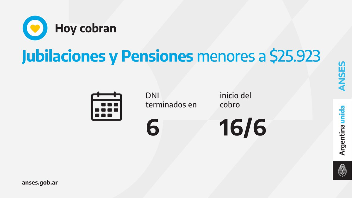 ANSES @ansesgob: ????️ Calendario de pago del 16 de junio: Jubilaciones y Pensiones (haberes que no superen los $25.923). https://t.co/V5VJVEbuwK