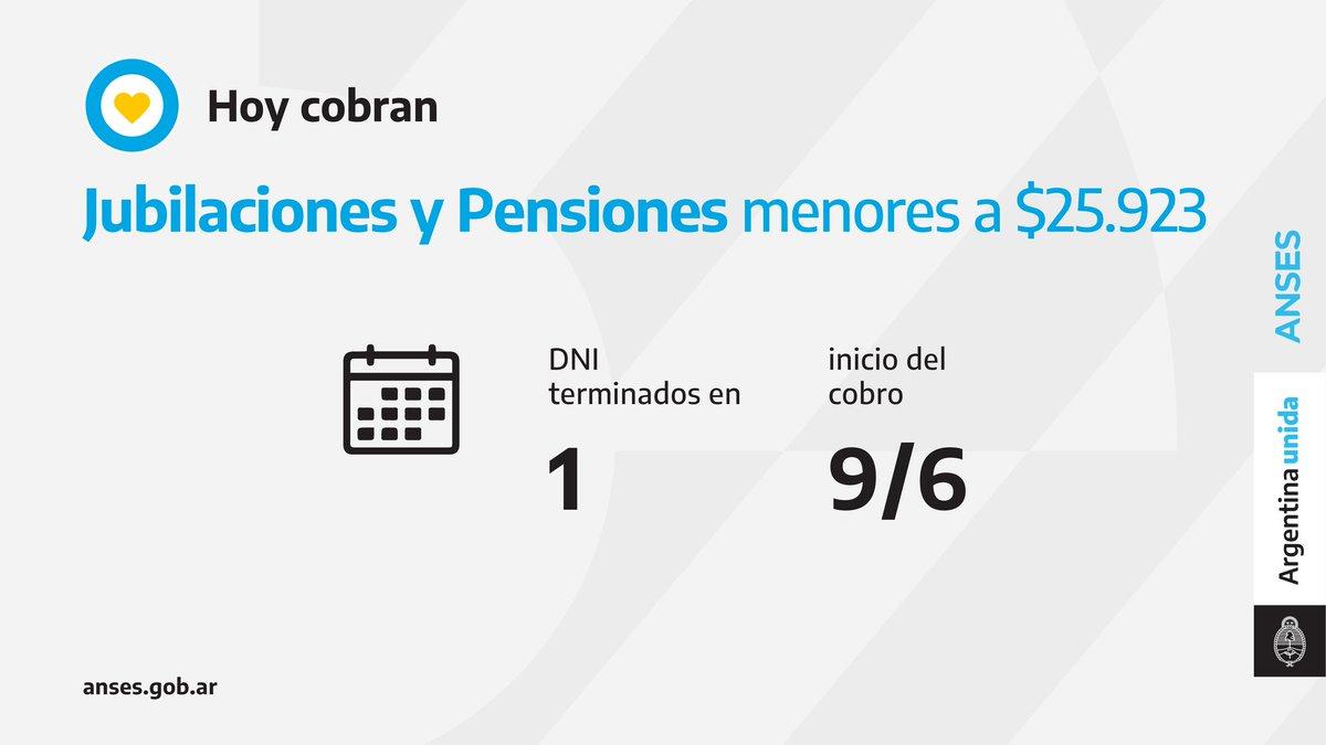 ANSES @ansesgob: ????️ Calendario de pago del 9 de junio: Jubilaciones y Pensiones (haberes que no superen los $25.923). https://t.co/gjiNewm0uP