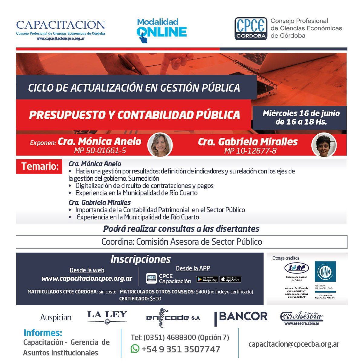 CPCE Córdoba @CPCECordoba: Inscripciones desde la web https://t.co/SShjf0iDOX ó desde la App CPCE Capacitación ???? https://t.co/CYCGKvyqLA
