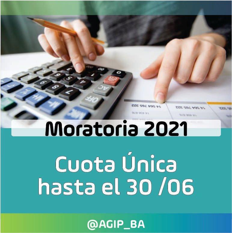 AGIP @AGIP_BA: MORATORIA 2021: Hasta el 30/06 tenés tiempo de regularizar tu deuda de Inmobiliario/ABL y Patentes, en un solo pago, con quita del 100% de los intereses. Más Información:  https://t.co/WddxcIpxm0 https://t.co/mXogz3uq87